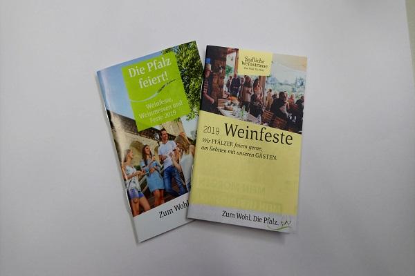 Die Weinfestkalender der Südlichen Weinstrase und der Pfalz 2019